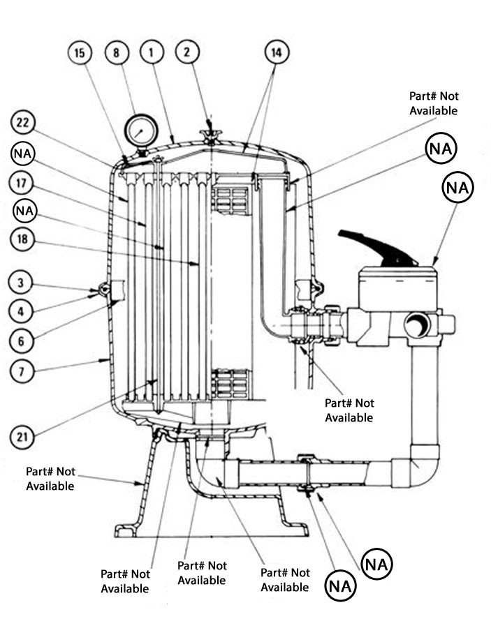 Waterco Fulflo P2027 D.E. Cartridge Filter | 27 Sq. Ft. 67 GPM | 230027NA Parts Schematic