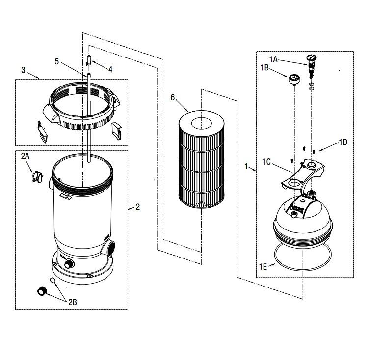 Waterway ProClean Plus Inground Pool Single Cartridge System   1HP Hi-Flo II 2-Speed Pump 75 Sq. Ft. Filter   522-6000-6S Parts Schematic