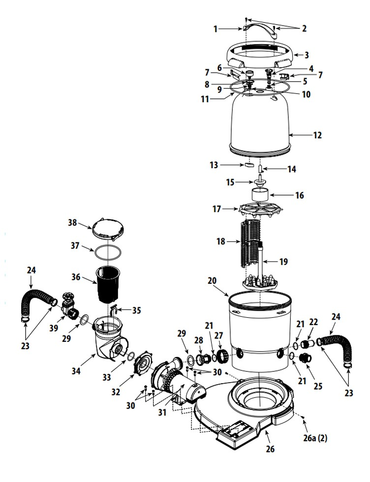 Waterway ClearWater II Above Ground Pool D.E. Deluxe Filter System | 1HP 2-Speed Pump 18 Sq. Ft. Filter | 3' Twist Lock Cord | FDS067107-3 Parts Schematic