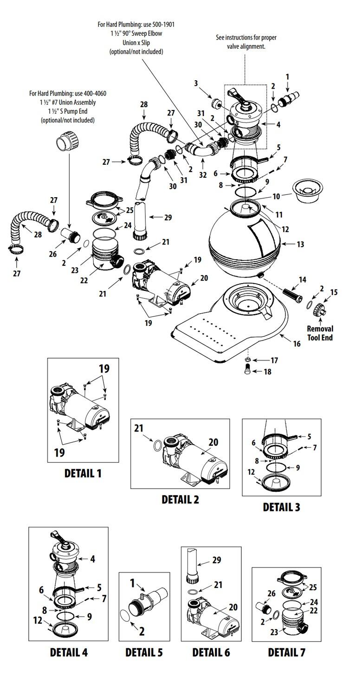 "Waterway ClearWater Above Ground Pool 16"" Sand Standard Filter System | 1HP 2-Speed Pump 1.4 Sq. Ft. Filter | 3' Twist Lock Cord | 522-5200-3S Parts Schematic"