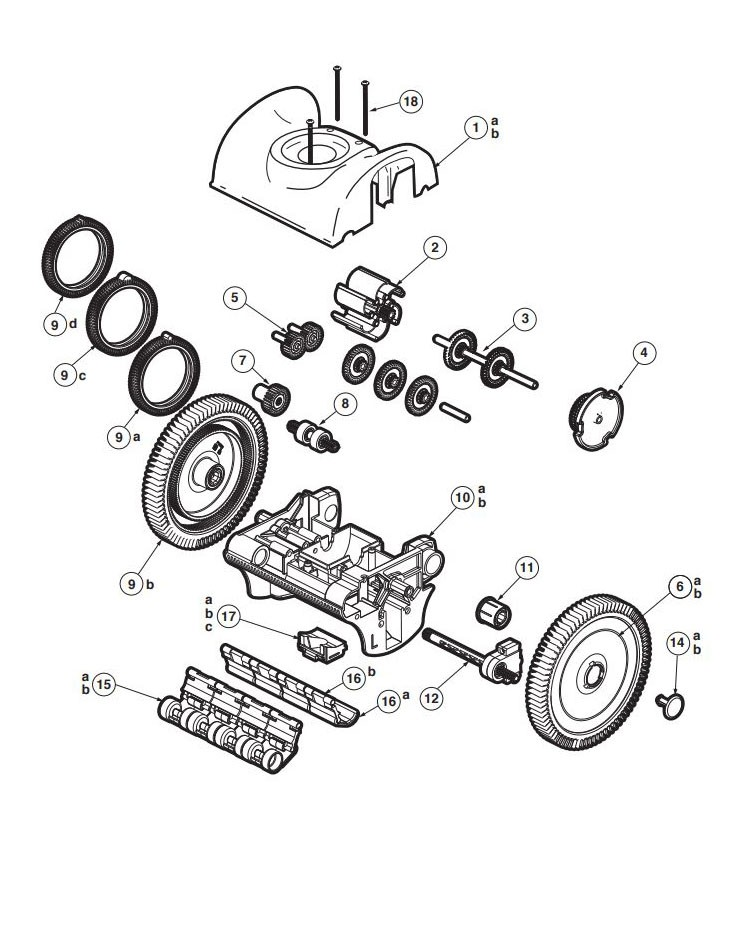Hayward Poolvergnuegen The PoolCleaner 2 Wheel Suction Cleaner | White | PBS20JST Parts Schematic