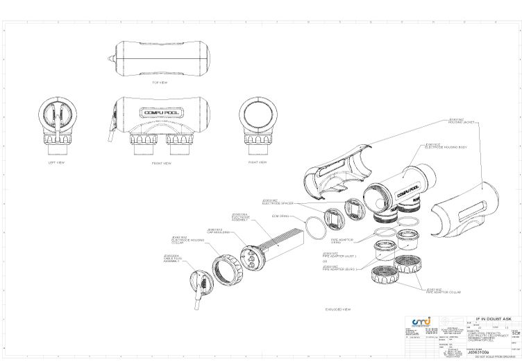 CompuPool Replacement Salt Cell Electrode for CPSC48 | 10-Blade for up to 60,000 Gallons | JD363130E Parts Schematic