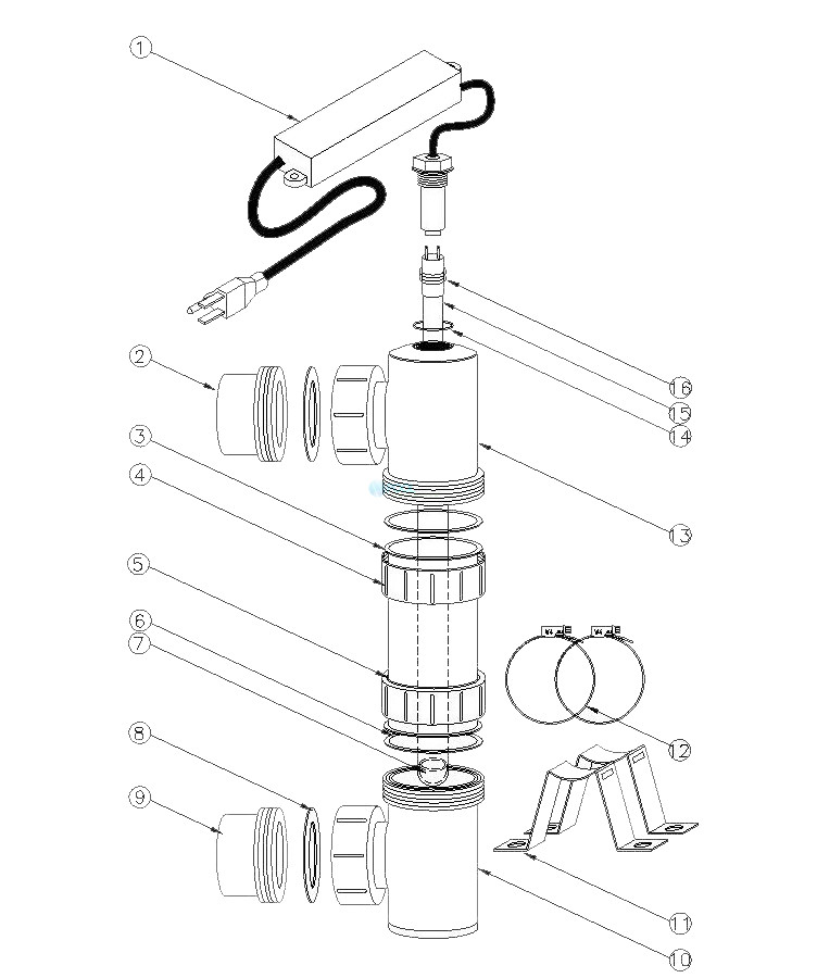 "DELTA ULTRAVIOLET 35-08376 EA-3H-40 DELTA UV 240V SANITIZER 2"" 32GPM MAX Parts Schematic"