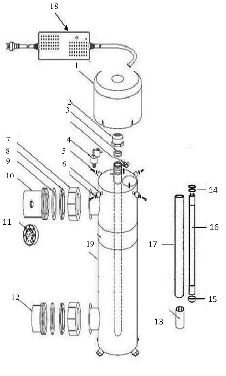 Delta Ultraviolet Sanitizer/Clarifier System EP Series   EP-5   Stainless Steel   26 GPM 120V   35-08150 35-08145 Parts Schematic