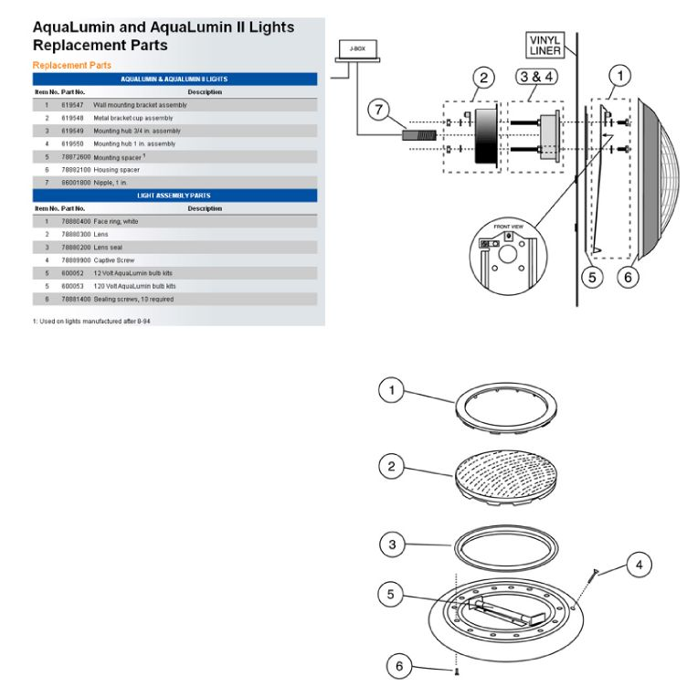 Pentair AquaLumin III Pool and Spa Light | 250W, 120V, 50' Cord | 78864200 Parts Schematic