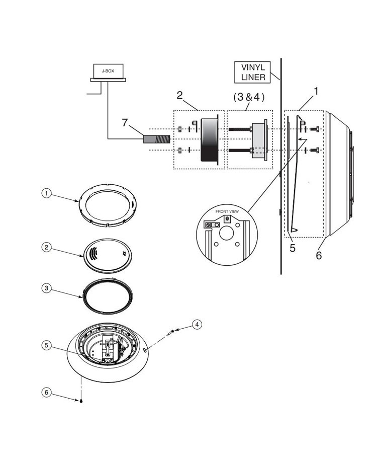 AquaLumin® lII Above Ground Pool Light | 100W, 12V, 50' Cord | 78873500 Parts Schematic