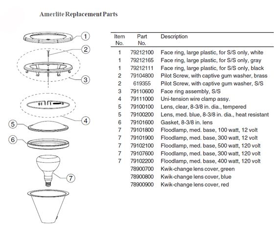 Pentair Amerlite Pool Light for Inground Pools Stainless Steel Facering | 300W , 12V , 50' SS | 78438100 Parts Schematic