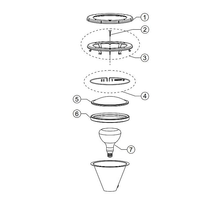 Pentair Amerlite Pool Light for Inground Pools with Stainless Steel Facering | 500W 120V 50' Cord | 78458100 Parts Schematic