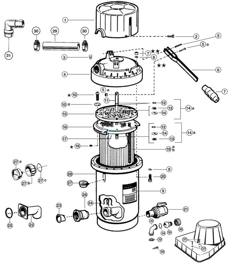 Hayward D.E. Perflex Extended Cycle Pool Filter | 34 sq. ft. | 68 GPM | W3EC65A Parts Schematic