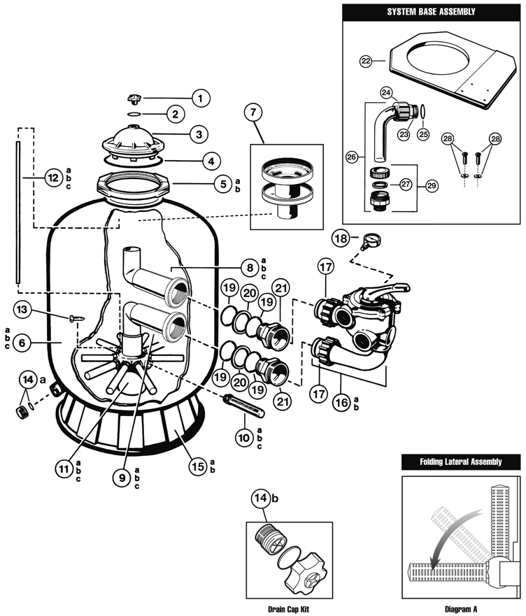 """Hayward Pro Series Side Mount Sand Filter 20"""" Tank   Backwash Valve Included   S210S Parts Schematic"""