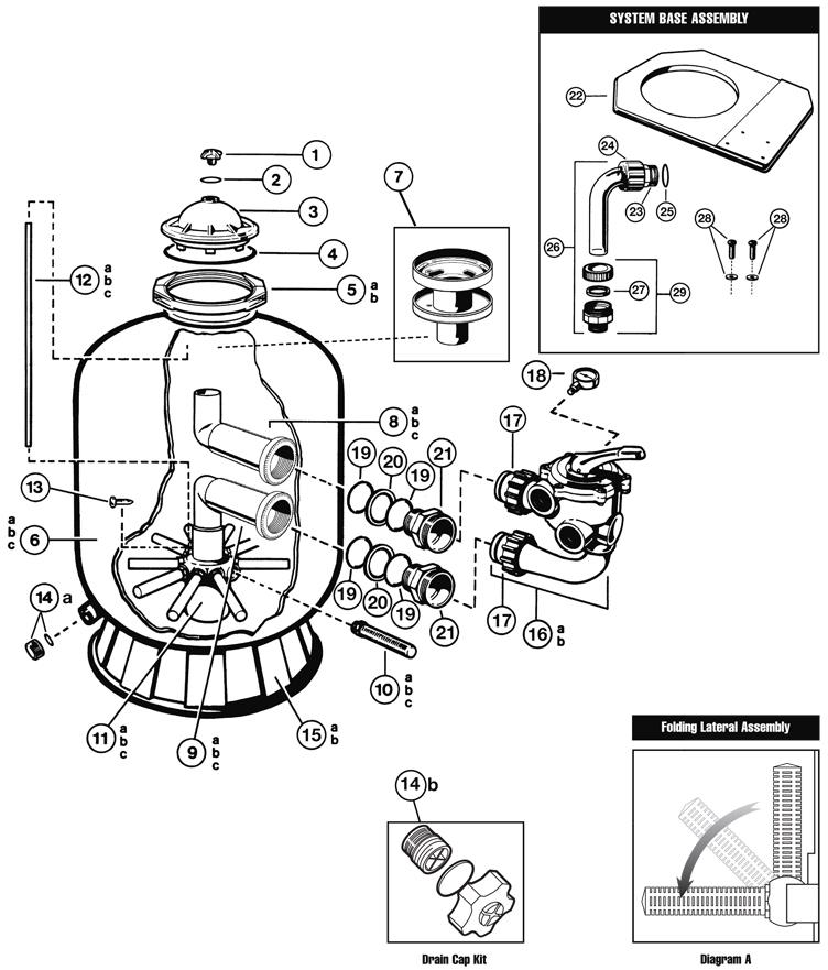Hayward Pro Series Side Mount Sand Filter 30 inch Tank   Backwash Valve Required   S310S Parts Schematic