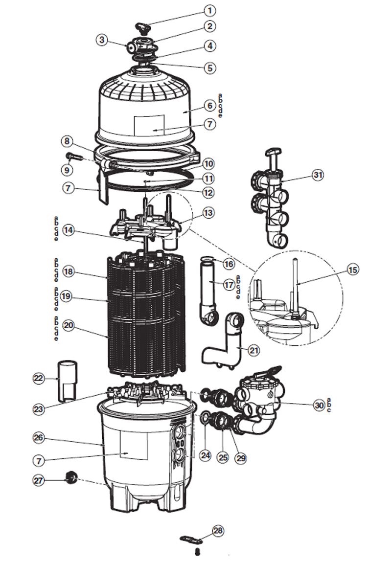 Hayward D.E. ProGrid Pool Filter | 72 sq. ft. | Requires Backwash Valve - Not Included | DE7220 Parts Schematic