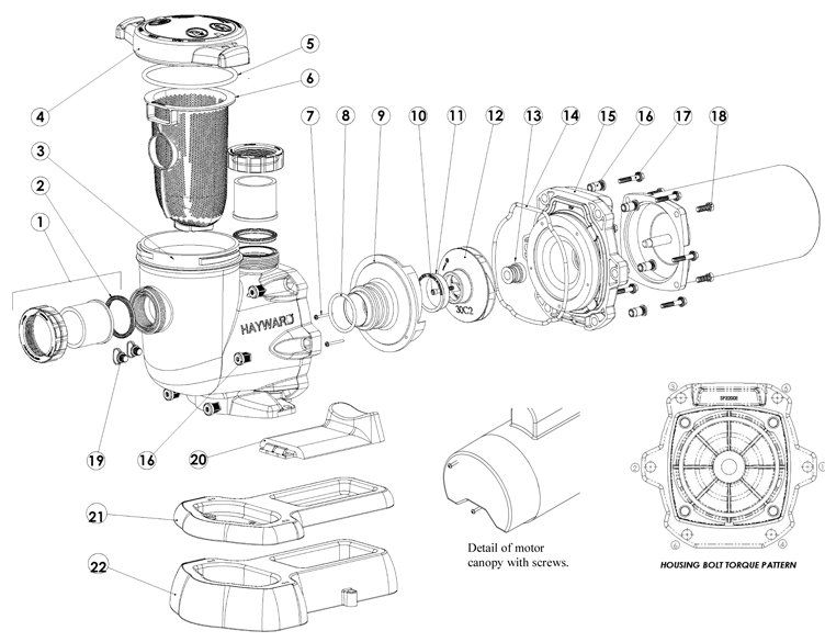 Hayward TriStar High Performance Energy Efficient Pump .75HP Full Rated | 115V 230V | W3SP3207EE Parts Schematic