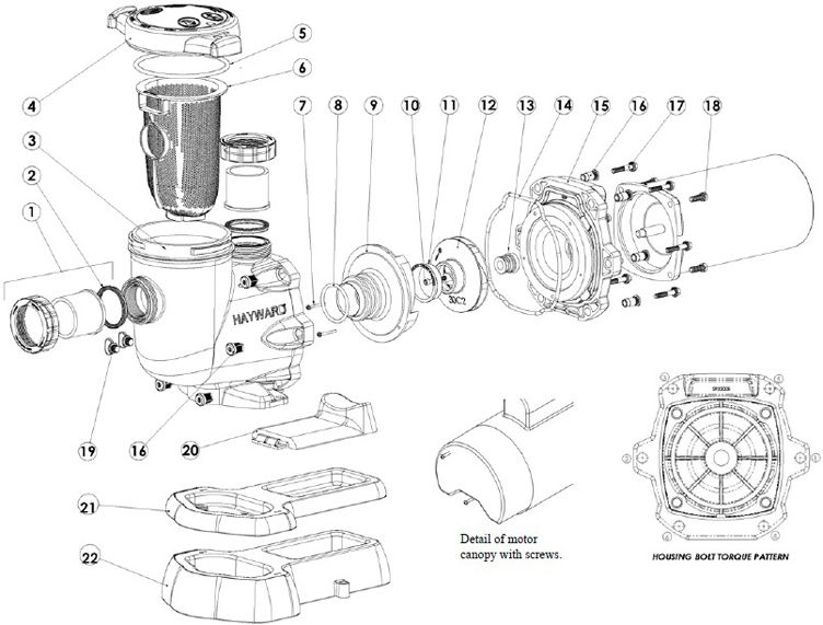 Hayward TriStar High Performance Energy Efficient Pump .5HP Full Rated   115/230V   SP3205EE Parts Schematic