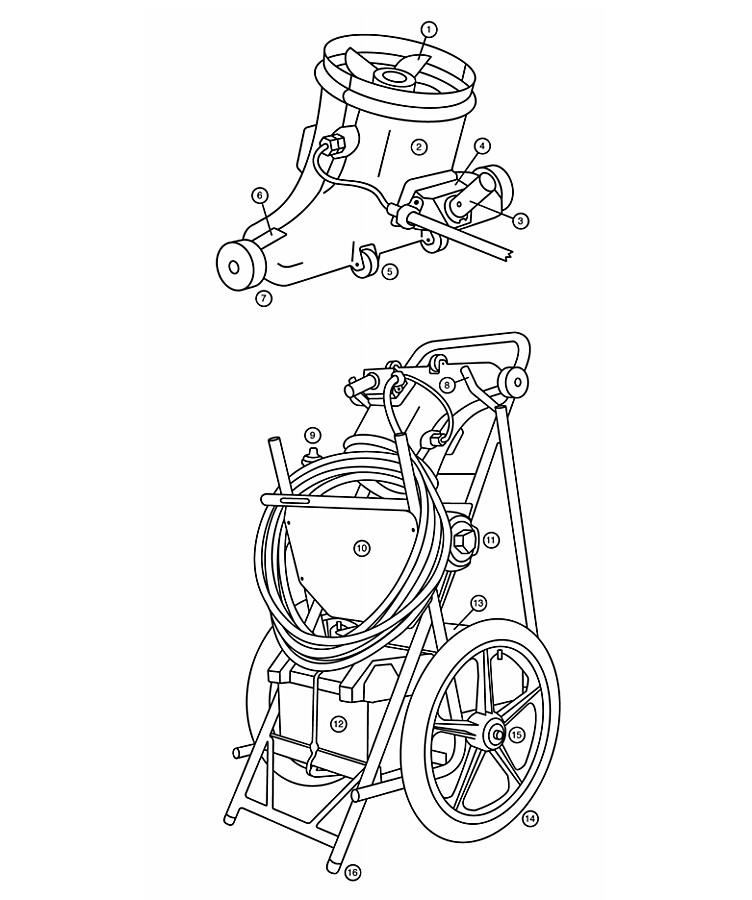 "Hammerhead Service-21 Cleaner - 21"" - 60' Cord | SERVICE-21-60' Parts Schematic"