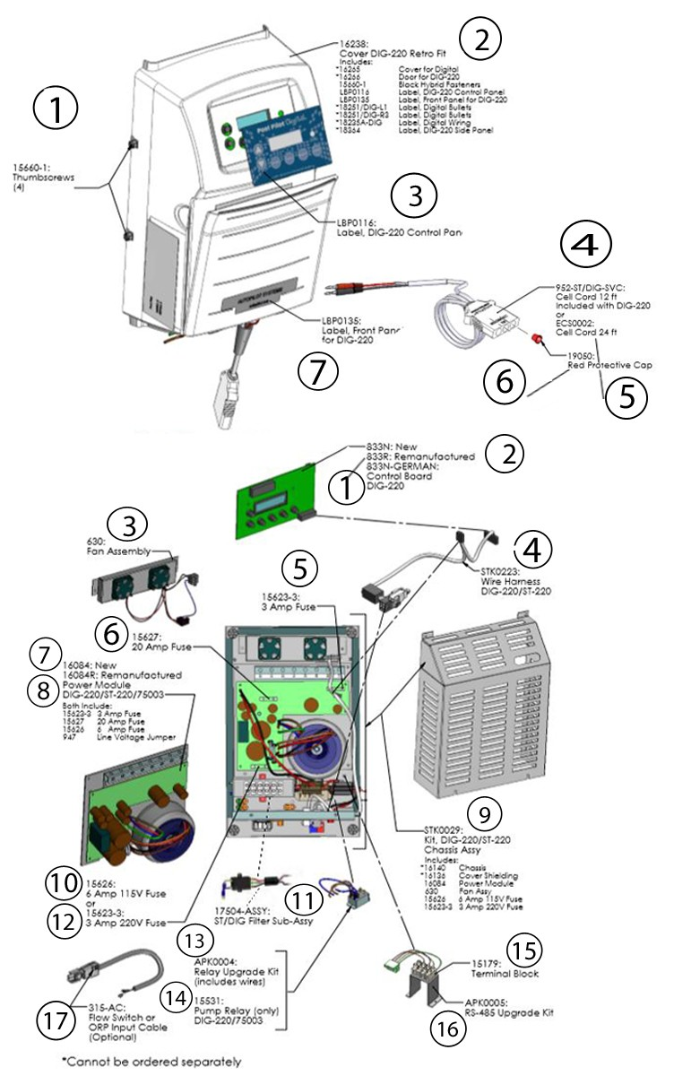 AutoPilot Pool Pilot Digital Salt Cell Power Supply System   220V   DIG-220 Parts Schematic