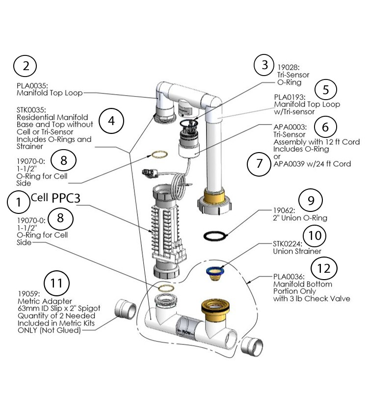 AutoPilot Manifold Salt Cell Generator with SC-48 RC-42 PPC3 Tri-Sensor and Check Valve for 50,000 Gallon Pool   94107 PPM3 Parts Schematic