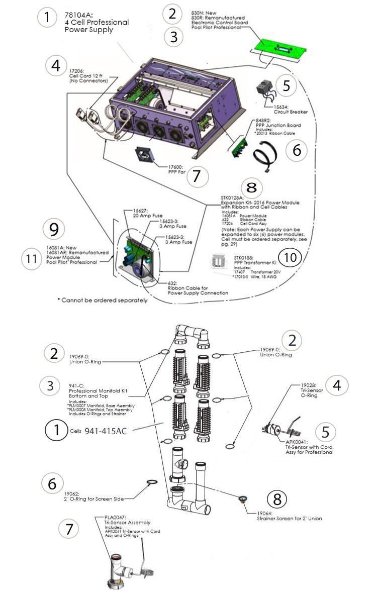 AutoPilot Pool Pilot Professional 4 Power Supply 4 Salt Cell System | PRO4US Parts Schematic