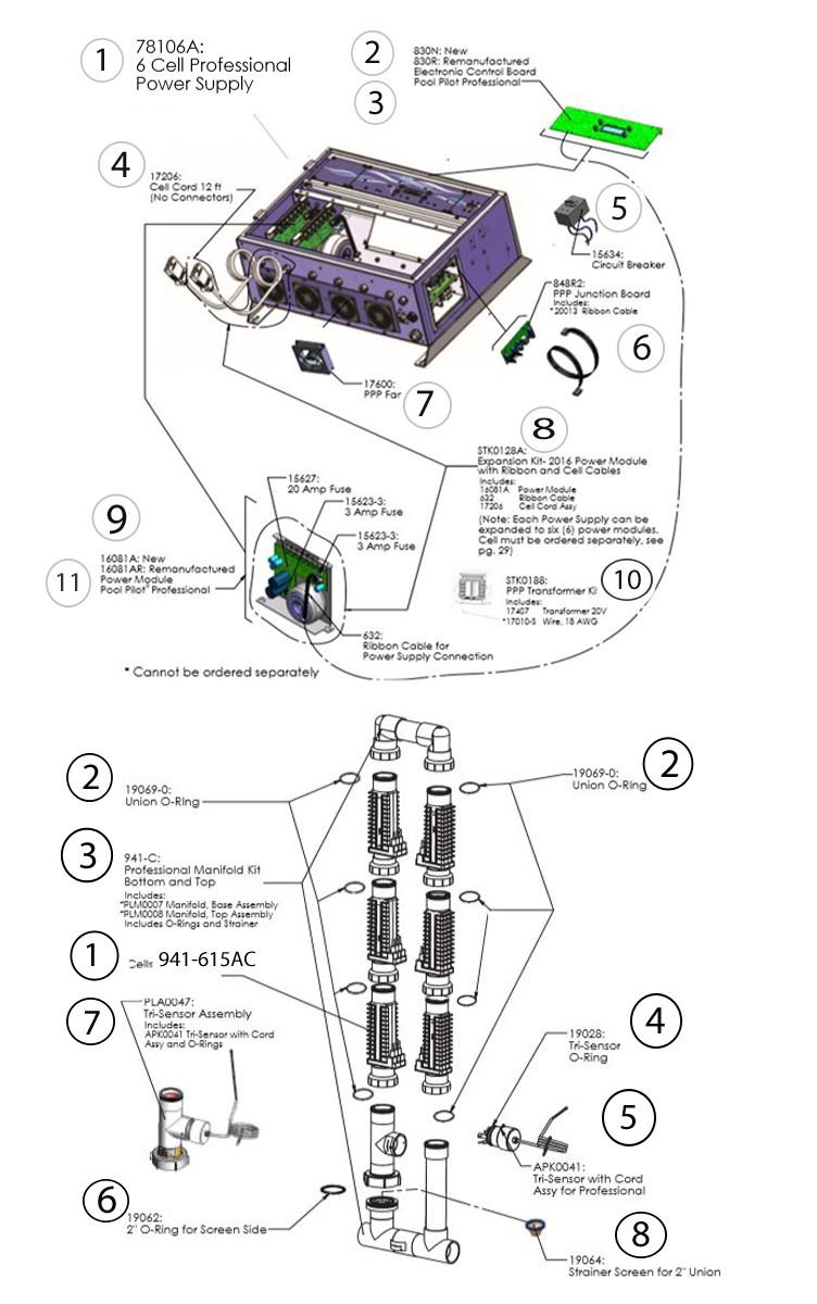 AutoPilot Pool Pilot Professional 6 Power Supply 6 Salt Cell System   PRO6US Parts Schematic