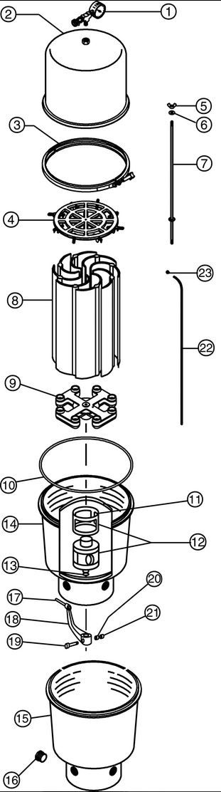 Pentair SMBW4060 Fiberglass D.E. Filter   58 Square Feet with Built-In Backwash Valve   147411 Parts Schematic