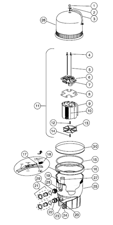 Pentair FNS Plus Fiberglass D.E. Filter | 36 Square Feet | EC-180007 Parts Schematic
