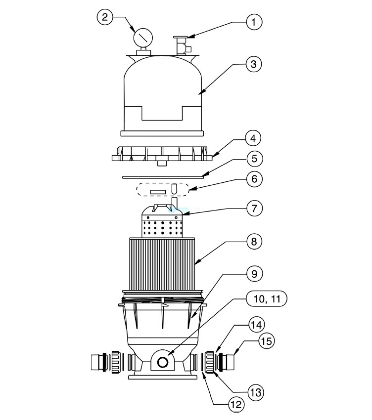 Pentair Clean & Clear Cartridge Filter | 150 Sq. Ft. | 160317 Parts Schematic