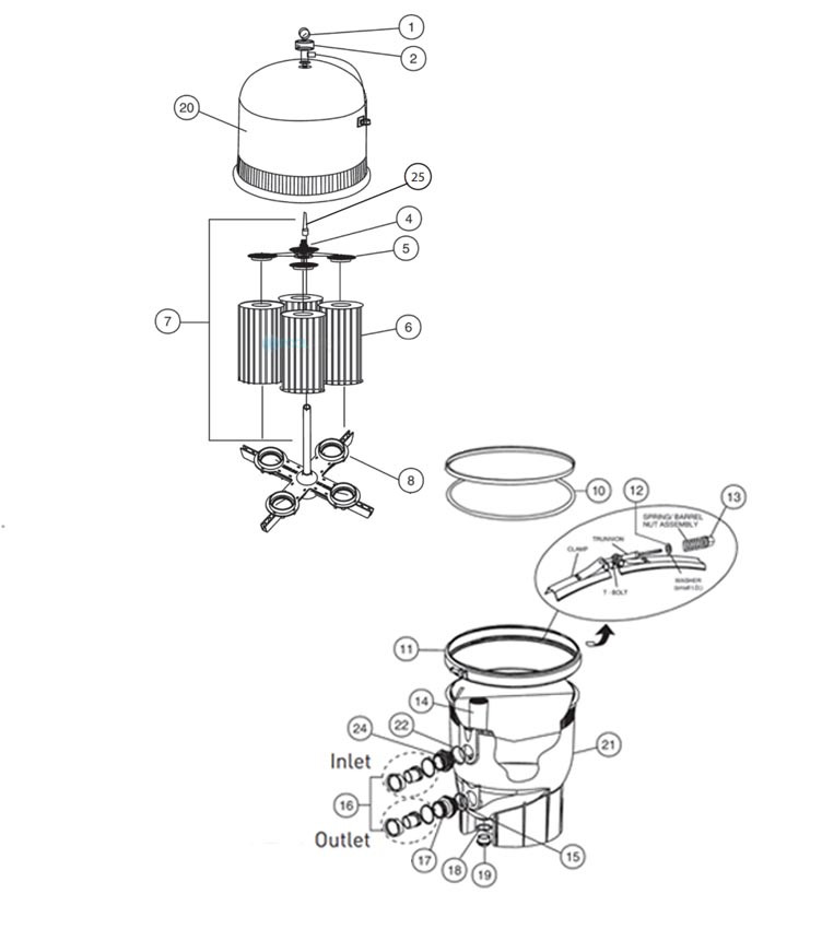 Pentair Clean & Clear Plus  Cartridge Filter | 520 Sq. Ft. | EC-160332 Parts Schematic