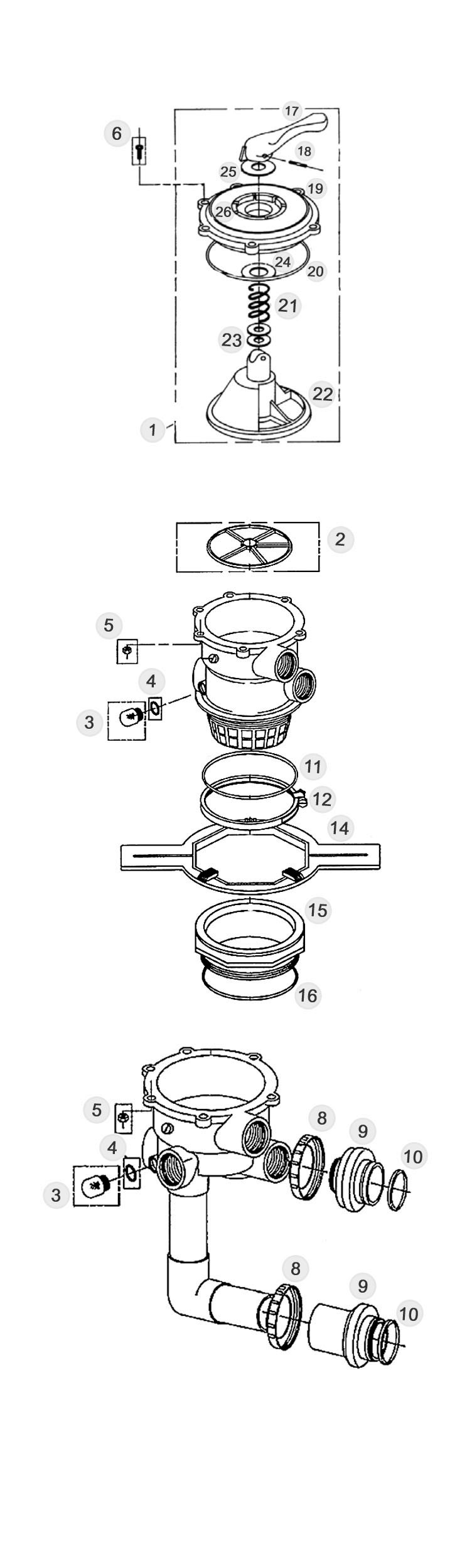 """Pentair Pre-Plumbed Multiport Valve Kit 2"""" for Sand Filters and Quad DE SM2-PP3 