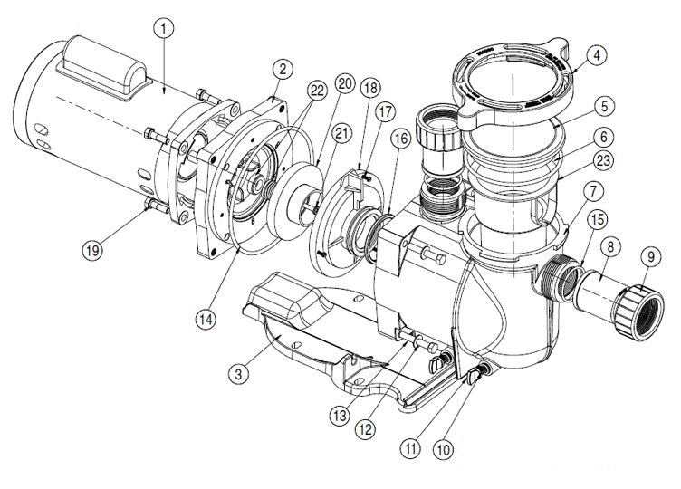 pool supply unlimited pentair superflo 2hp standard efficiency Water Well Pump Wiring Diagram