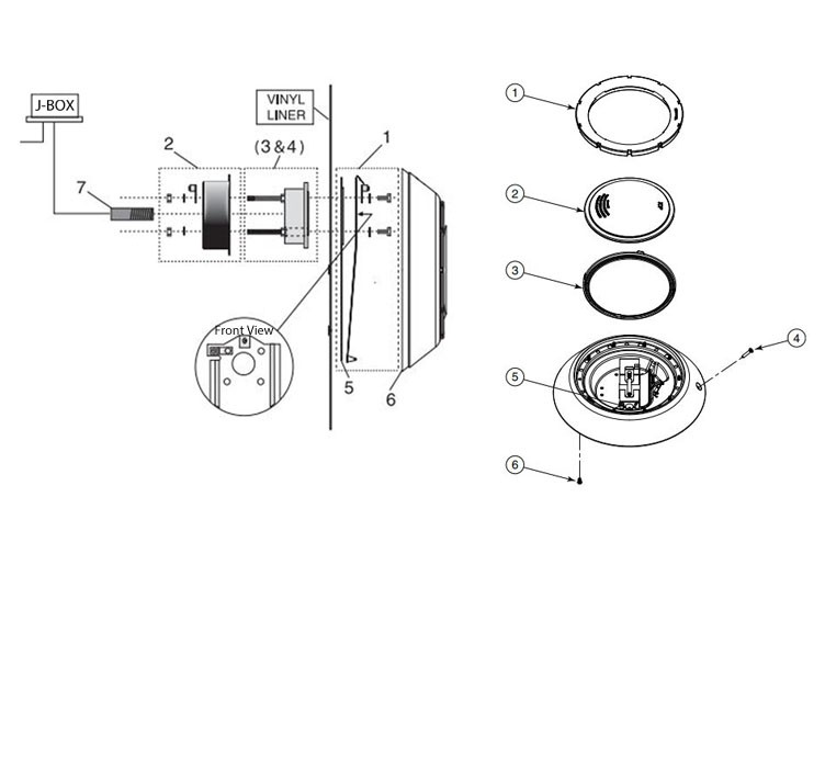Pentair Aqualumin lll Wall Mount Bracket Assembly | 619547 Parts Schematic