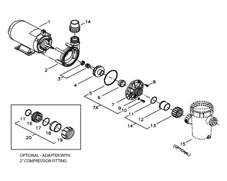 Aqua-Flo Flo-Master FMHP   Side Discharge   48-Frame 115V 1.5 HP 1.0 OPHP 2-Speed   02110000-1010 Parts Schematic