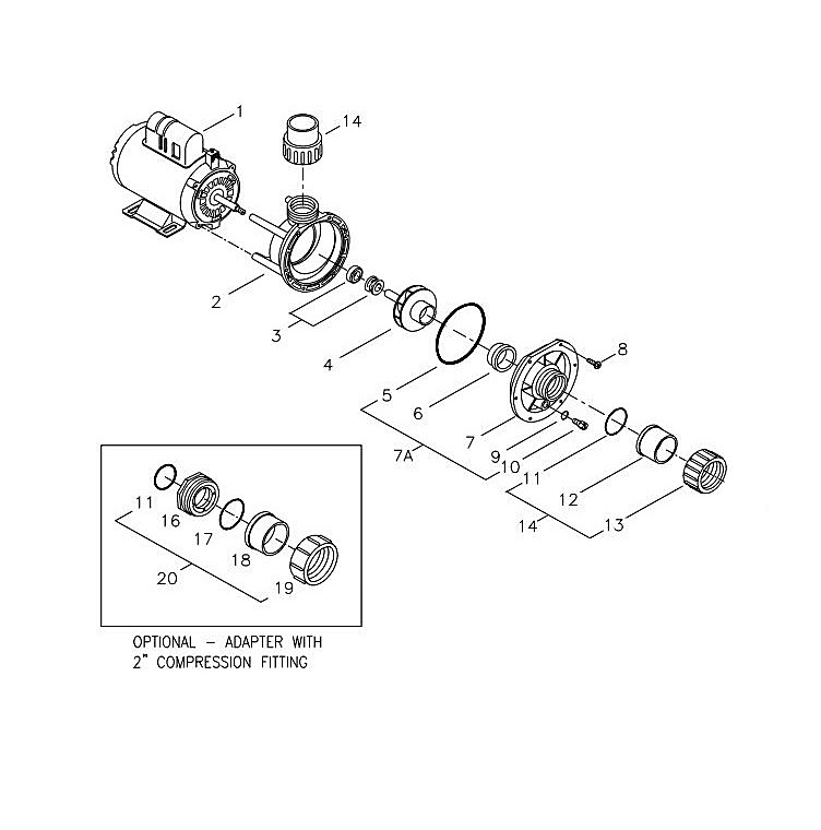 Aqua-Flo Flo-Master FMCP | Center Discharge | 48-Frame 230V 3.0 HP 2.0 OPHP 2-Speed | 02620000-1010 Parts Schematic