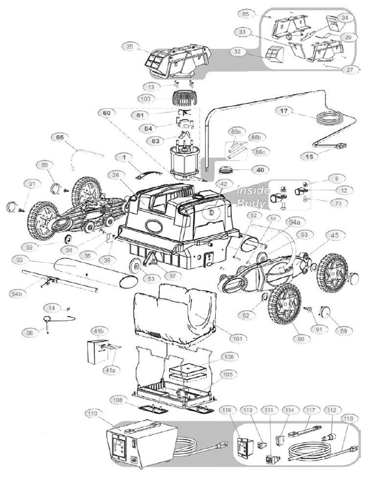 Aquabot Turbo T-Jet Robotic Pool Cleaner | ABTTJET Parts Schematic