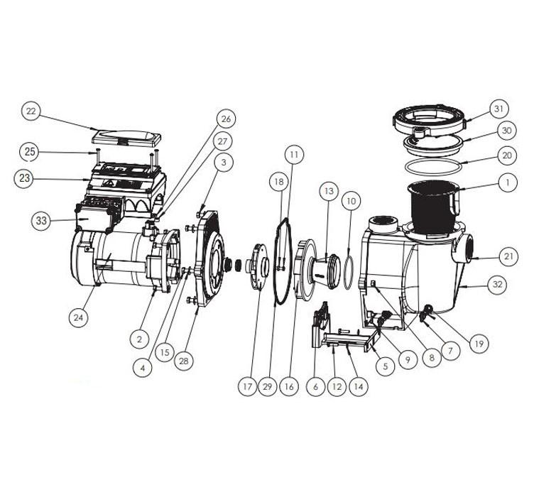 Pentair Intelliflo 3HP Variable Flow Pump VF-3050 3.2kw  230V   011012 Parts Schematic