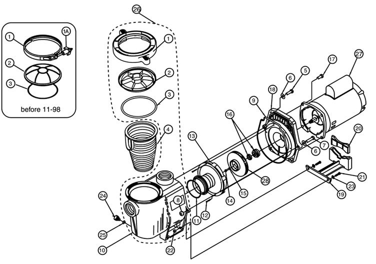 Pentair WhisperFlo 2HP Energy Efficient  2-Speed Pool Pump Up-Rated 230V | WFDS-28 | 011524 Parts Schematic
