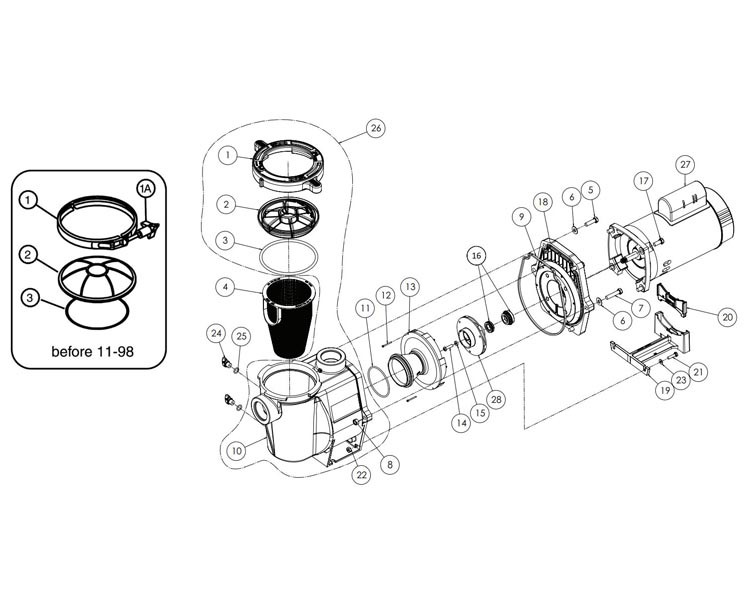Pentair WhisperFlo 1HP Standard Efficiency Up-Rated Pool Pump 115-230V | WF-24 | 011772 Parts Schematic