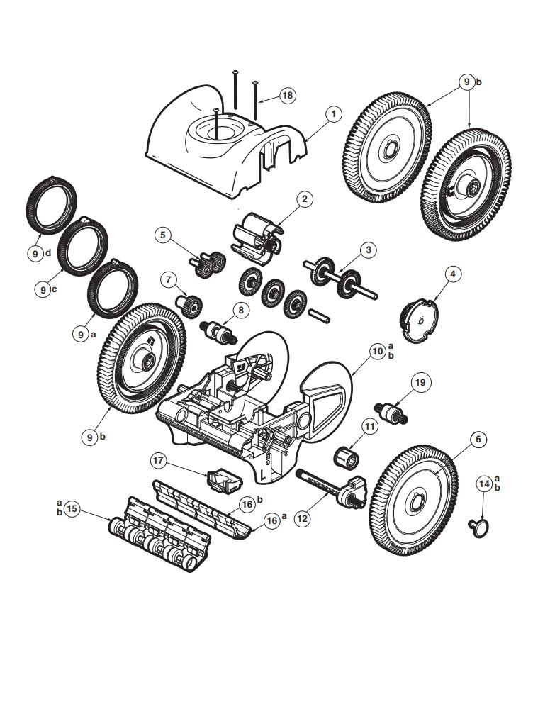 Poolvergnuegen PoolCleaner 4-Wheel Suction Side Cleaner | White Blue Model | W3PVS40JST Parts Schematic
