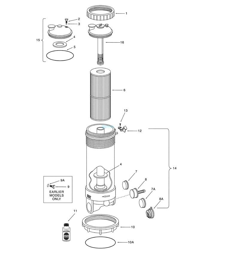 Pentair RCF25 Dynamic III High Flow Cartridge Filter | SLIP | 25 SQFT | 3OZ | R172523 Parts Schematic