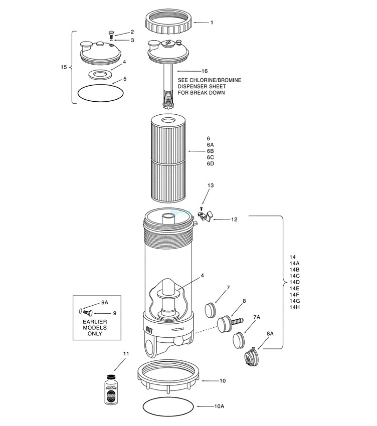 """Pentair 1.5"""" Slip RTL Dynamic II 50 Sq Ft Filter Assembly 