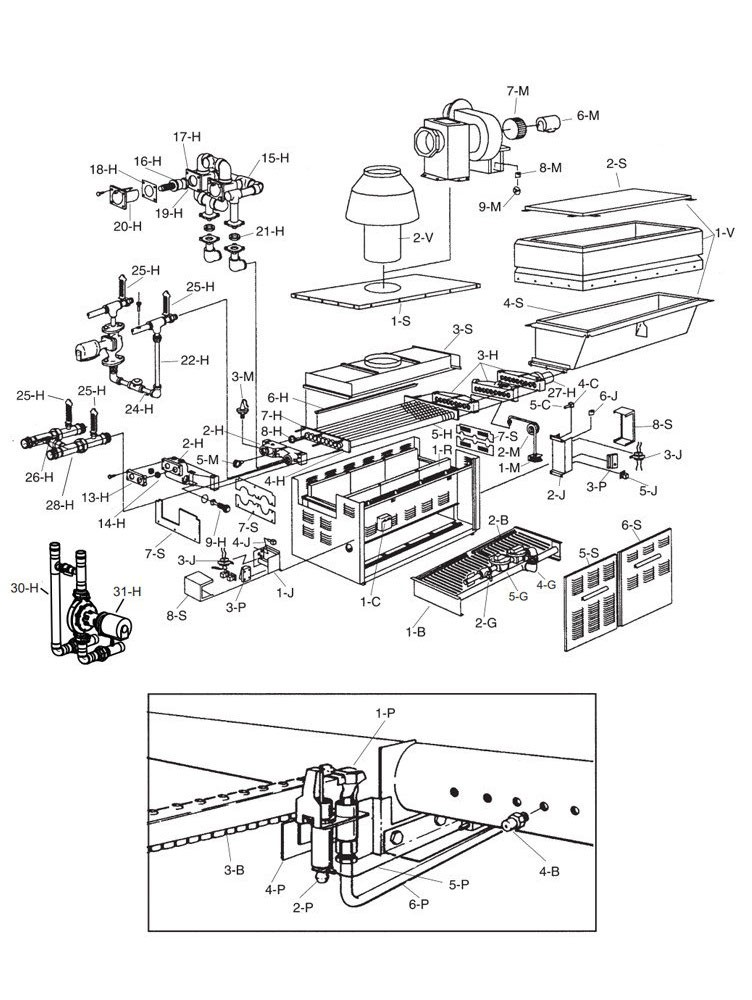 Raypak Raytherm P1287 #49 Cold Run Commercial Swimming Pool Heater with H-Style Bypass and Outdoor Top | Natural Gas 1,287,000 MBTU | 012393 Parts Schematic