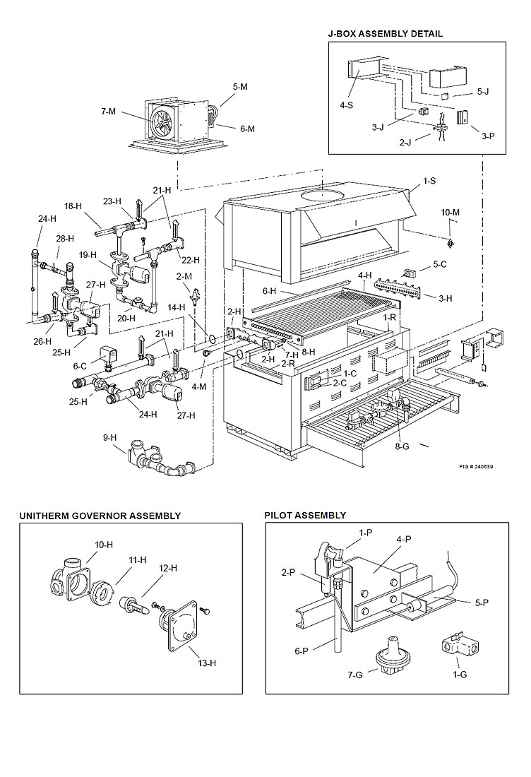 Raypak Raytherm P-3500 #36 Commercial Indoor Swimming Pool Heater with H-Style Bypass | Propane Gas 3,500,000 BTUH | 001888 Parts Schematic