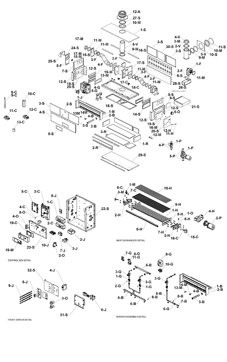 Raypak HI Delta P752C Commercial Indoor-Outdoor Swimming Pool Heater | Natural Gas 750,000 BTUH | 016063 Parts Schematic