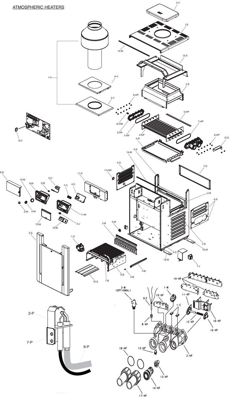 Raypak Digital Natural Gas Pool Heater 200K BTU | Electronic Ignition | Cupro Nickel Heat Exchanger | P-R206A-EN-X 010102 P-M206A-EN-X 010134 Parts Schematic