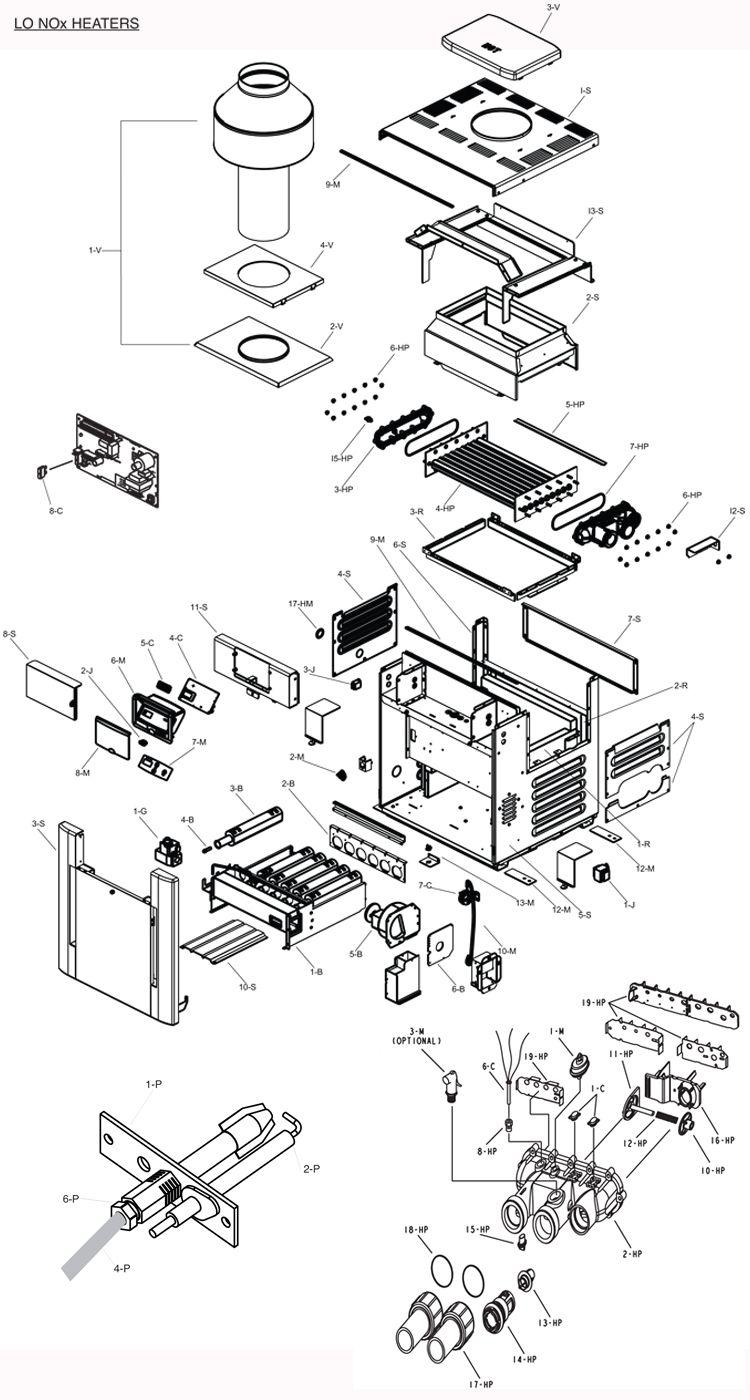 Raypak Digital Low NOx Natural Gas Heater 337K BTU | Cupro Nickel Exchanger | Electronic Ignition | P-R337A-EN-X 010132 P-M337A-EN-X 010164 Parts Schematic