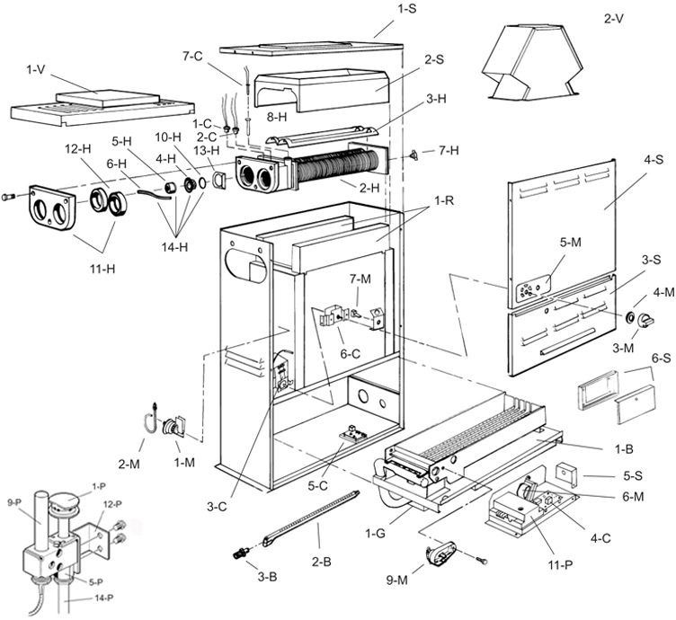 Raypak Versa 55K BTU Heater | Millivolt Standing Pilot | Natural Gas B-R055B-MN 004682 B-M055B-MN 010428 Parts Schematic