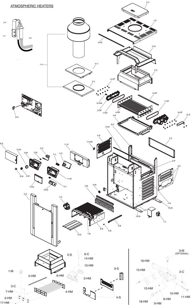 Raypak Digital ASME Natural Gas Commercial Swimming Pool Heater | 332.5k BTU | Altitude 0-1999 Ft | C-R336A-EN-C 009270 | B-R336A-EN-C #57 017373 Parts Schematic