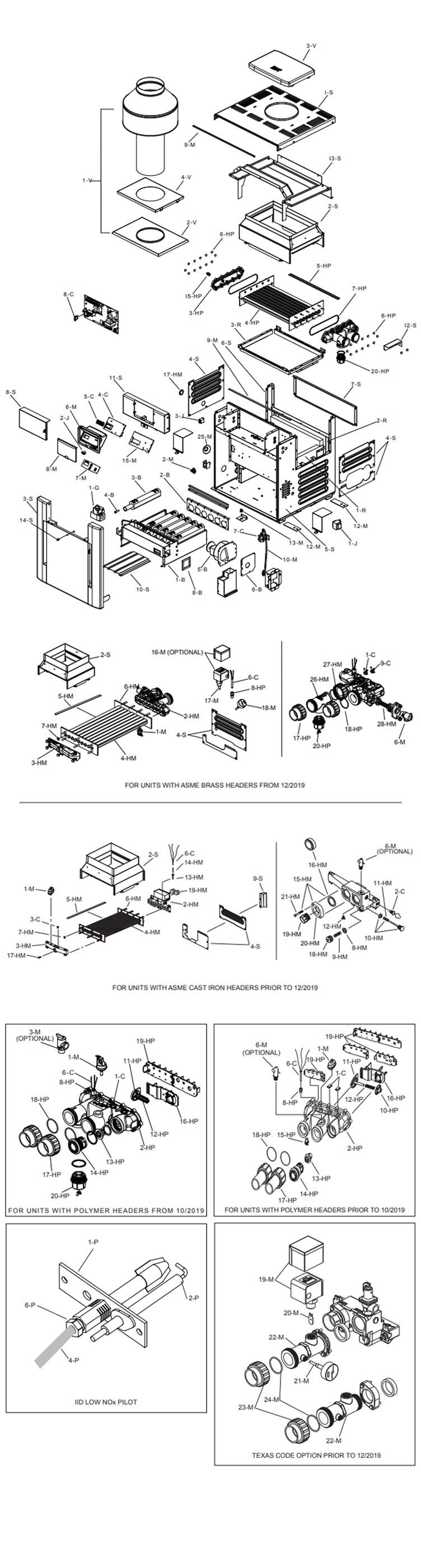 Raypak Digital Low NOX ASME Certified Natural Gas Commercial Swimming Pool Heater 333k BTU | C-R337A-EN-C 009294 Parts Schematic