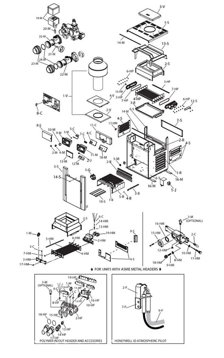 Raypak Digital Natural Gas Pool Heater 266k BTU | Electronic Ignition | P-M266A-EN-C 009963 P-R266A-EN-C 009217 Parts Schematic