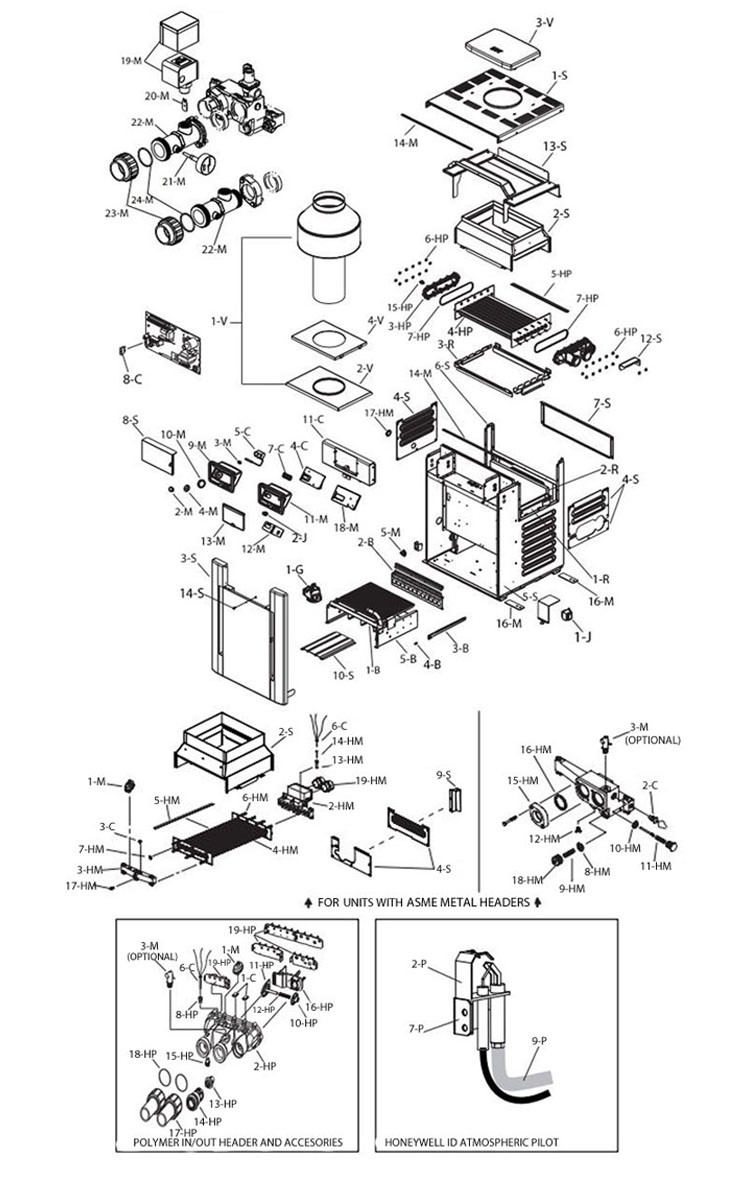 Raypak Digital Propane Gas Pool Heater 266k BTU | Electronic Ignition | P-R266A-EP-C 009225 P-M266A-EP-C 009975 Parts Schematic