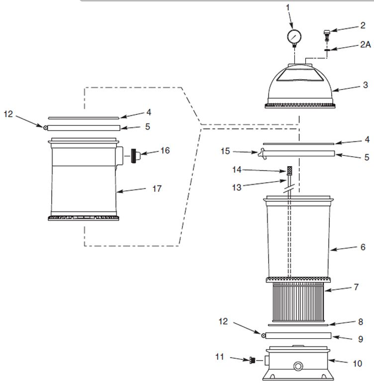 PENTAIR PTM50 POSI-FLO II FILTER CART 50 SQFT Parts Schematic